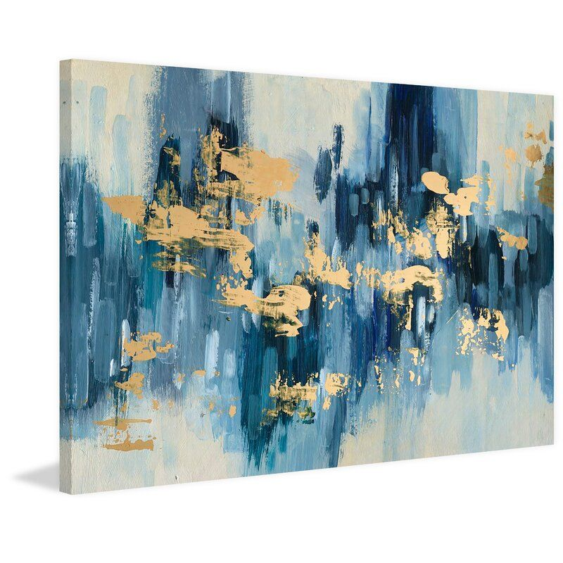 Glacage D Or Acrylic Painting Print On Wrapped Canvas In 2021 Blue Canvas Art Gold Wall Art Blue And Gold Bedroom