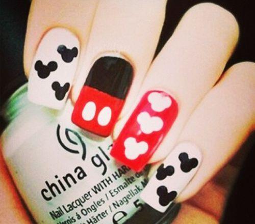 Uñas Decoradas De Mickey Mouse Nail Art Mickey Mouse Nails