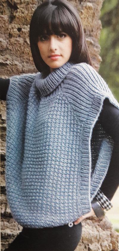 Este poncho tejido a dos agujas es muy versátil, lo podes usar en ...