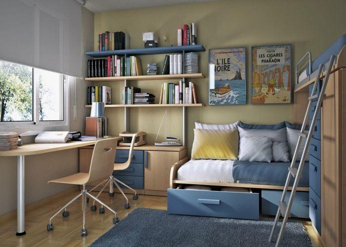 Ein Schreibtisch Mit Platz Für Zwei Schüler, Etagenbett, Kinderzimmer Ideen Für  Kleine Räume