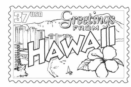 Stamp Of Hawaii Coloring Pages Flag Coloring Pages Flower
