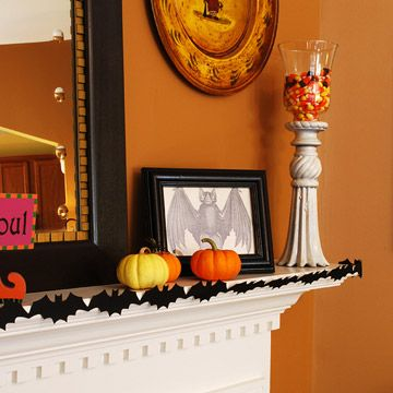 25+ Stylishly Spooky Halloween Mantel Ideas Candy corn and Samhain
