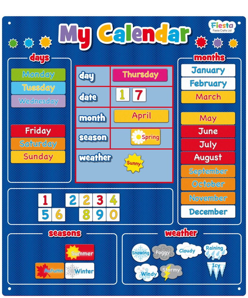 New Magnetic Blue My Calendar Large Learn Dates Days Weather