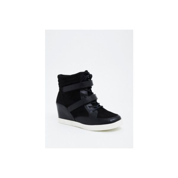 1cc928dc324 Torrid Wide Width Faux Leather   Faux Suede Wedge Sneakers - Wide... ( 43)  ❤ liked on Polyvore featuring shoes