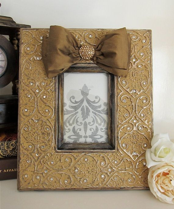 Gold Gorgeous Bling Wedding Frame 4x6 W Silk Bow By Hannahbowbanna