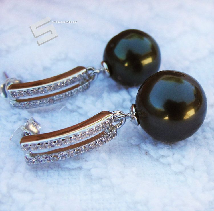 Genuine 9-10MM Freshwater black Akoya Pearl Drop//Dangle Sterling Silver Earrings