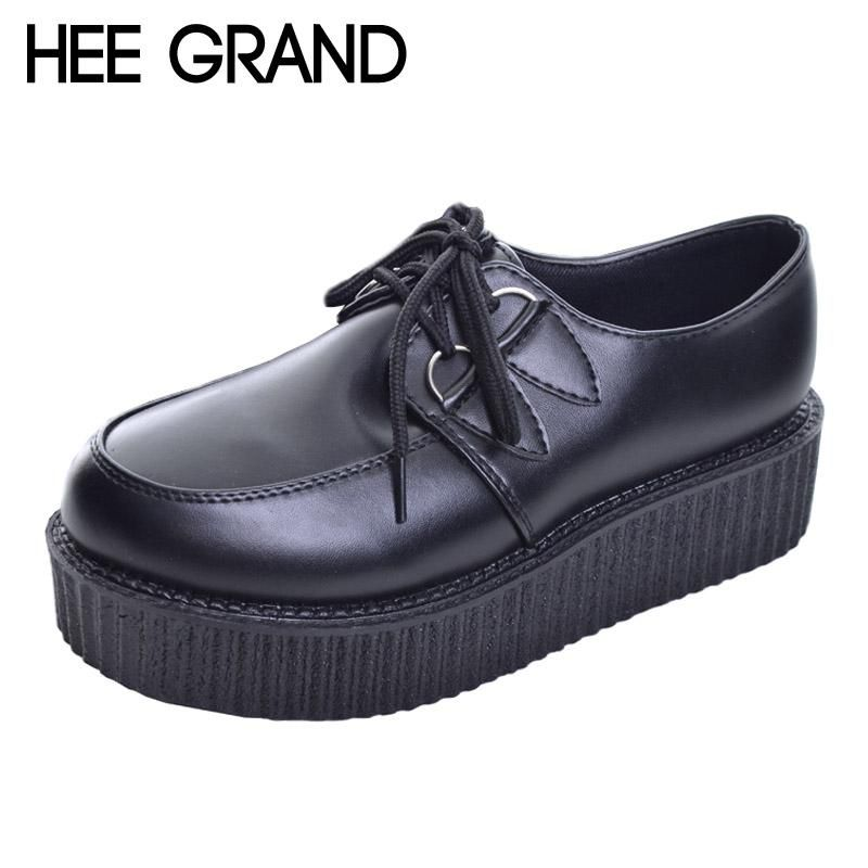 5a17fa820e HEE GRAND 2017 Women Platform Flats Lace-up Artificial Leather Shoes Woman  Spring Flat Creepers White Black Size 35-39 XWD367