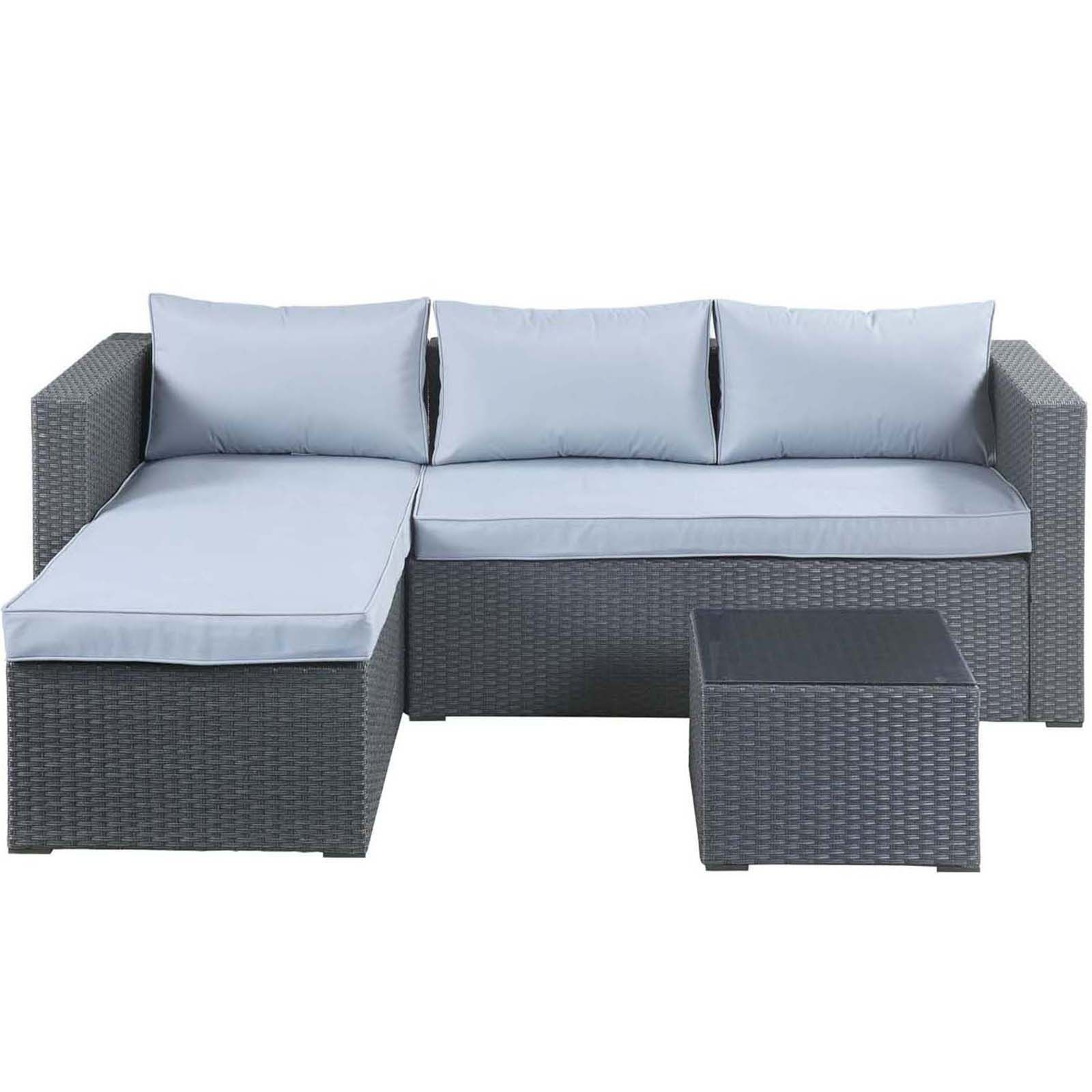 Alexandria Rattan Effect 3 Seater Corner Garden Sofa Set