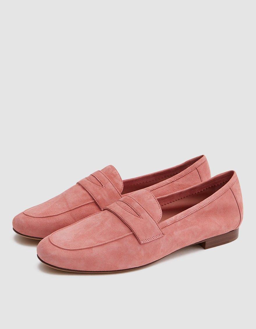 Mansur Gavriel Pink Suede Classic Loafers 76v182