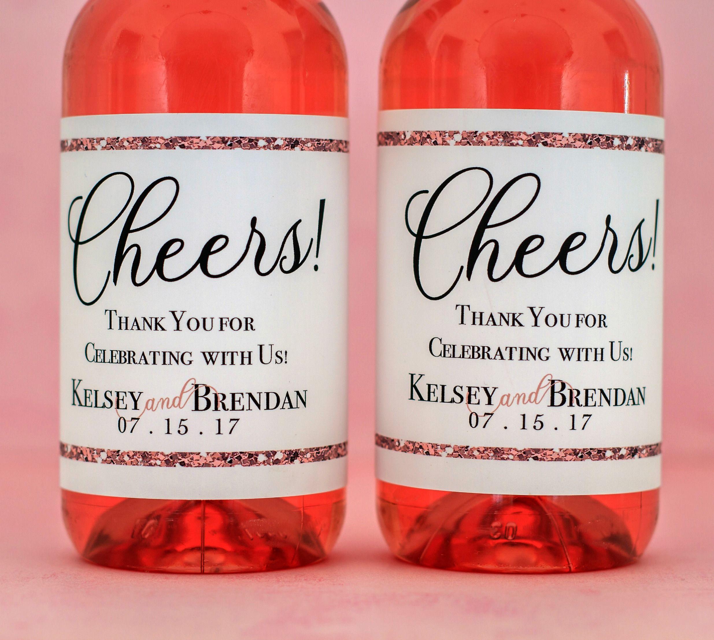 Rose Gold Wedding Mini Wine Bottle Labels