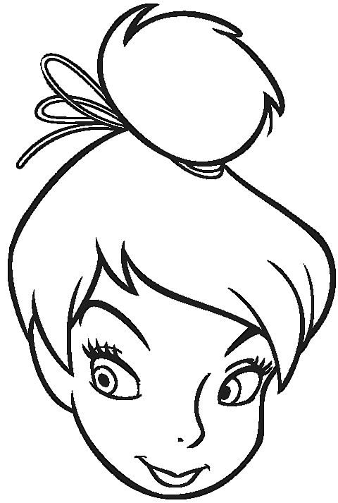 Face Of Tinkerbell Coloring Pages Tinkerbell Cartoon Coloring