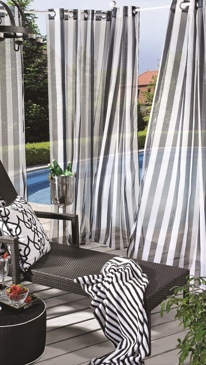 Escape Stripe Outdoor Sheers in Black & White | Outdoor ... on Black And White Backyard Decor  id=45199