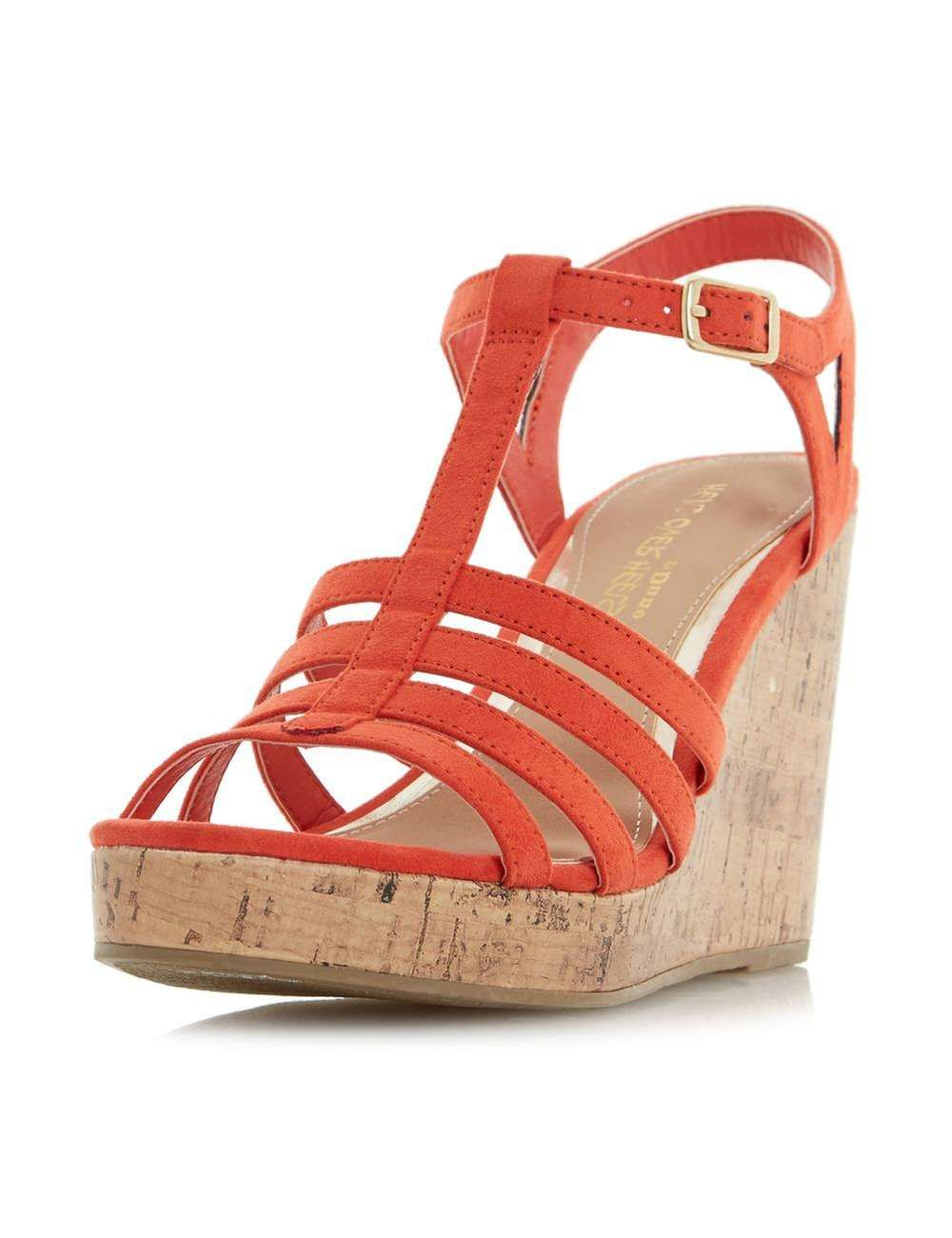 Dune Orange 'Keeli' Wedge Sandals