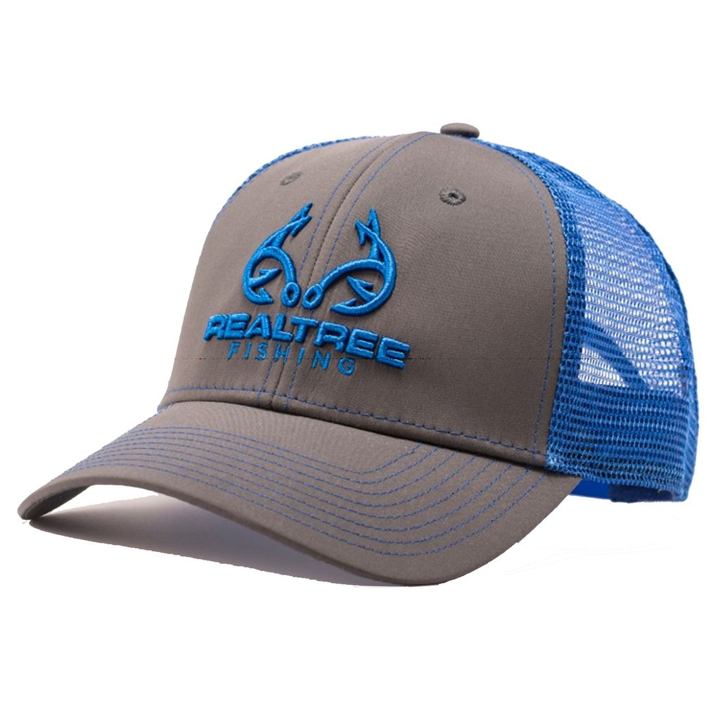 487d4e357565b Custom Realtree Fishing Logo Cap in Bright Blue. This Hat is a low Profile  Fit with a snap back closure for comfort and adjustability.