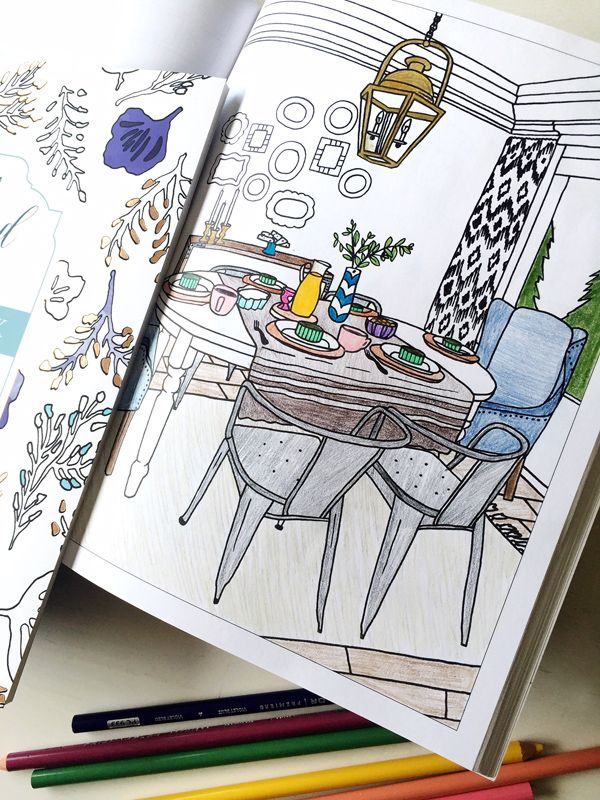 Interior Design Coloring Book | Coloring books, Adult coloring and Books