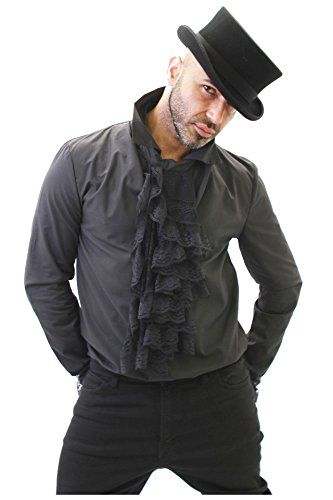 awesome Size S Altissimo Men's Black Steampunk Shirt Frilled Cuffs & Detachable Ruffle