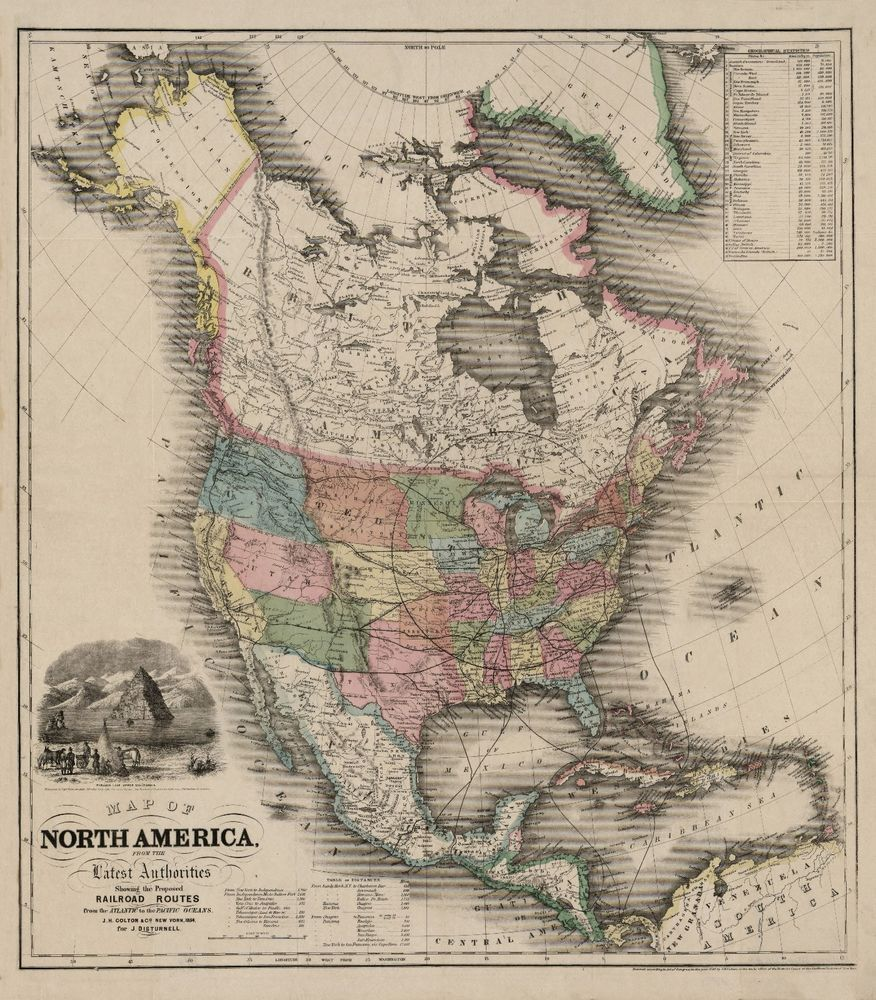 1854 Map Of North America United States Canada Mexico Antique - 1854-us-map