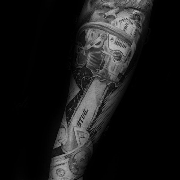 40 Chainsaw Tattoo Designs Für Männer Mechanische Saw Ink Ideen