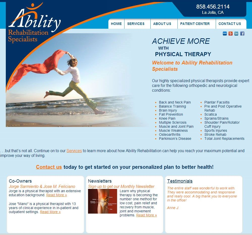 Description Of E Rehab S Physical Therapy Websites Therapy Website Design Therapy Website Physical Therapy