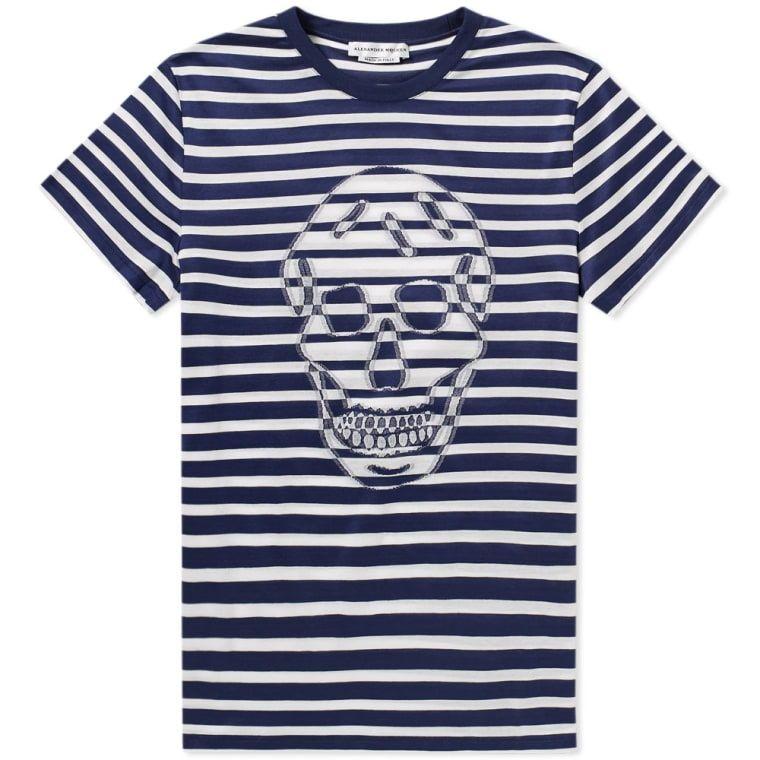 fa785e0d Alexander McQueen Stripe Blurred Skull Print Tee | Things to Wear in ...