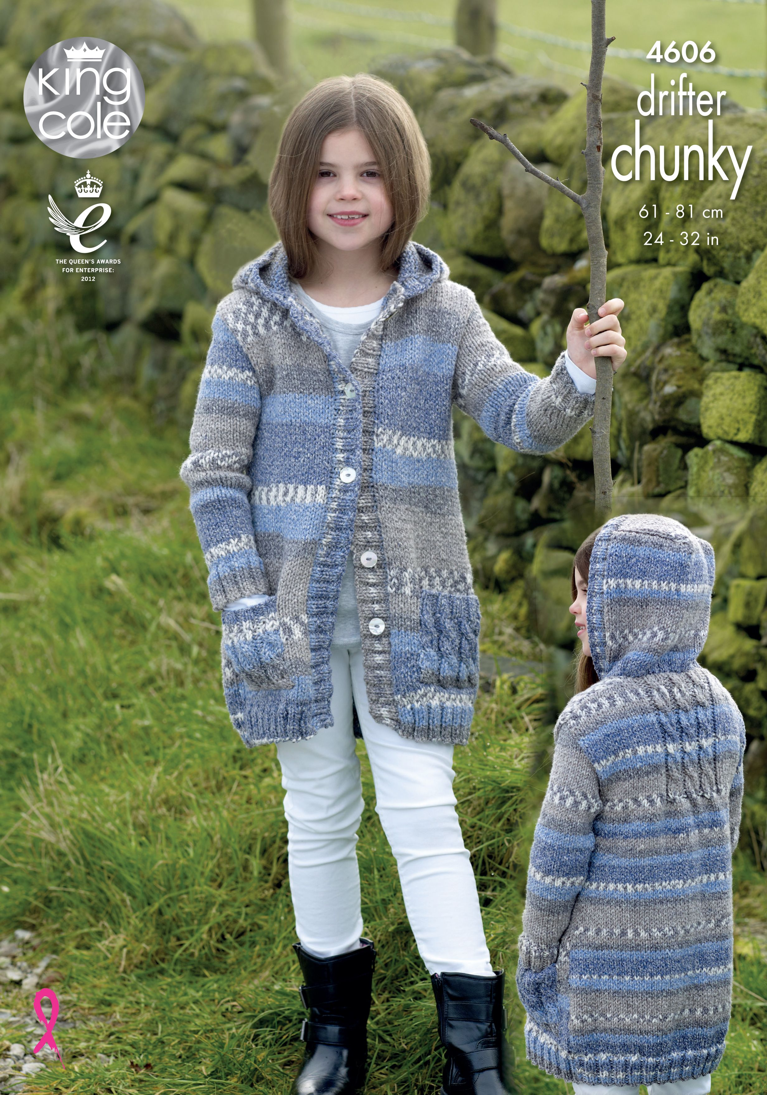 Girls knitted coat, perfect for cold weather - Self stripping yarn King Cole