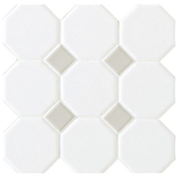 "Daltile Octagon and Dot 12"" x 12"" Mosaic in Matte White with Gray Gloss Dot    at Wayfair.com  $4.04 per sq ft"