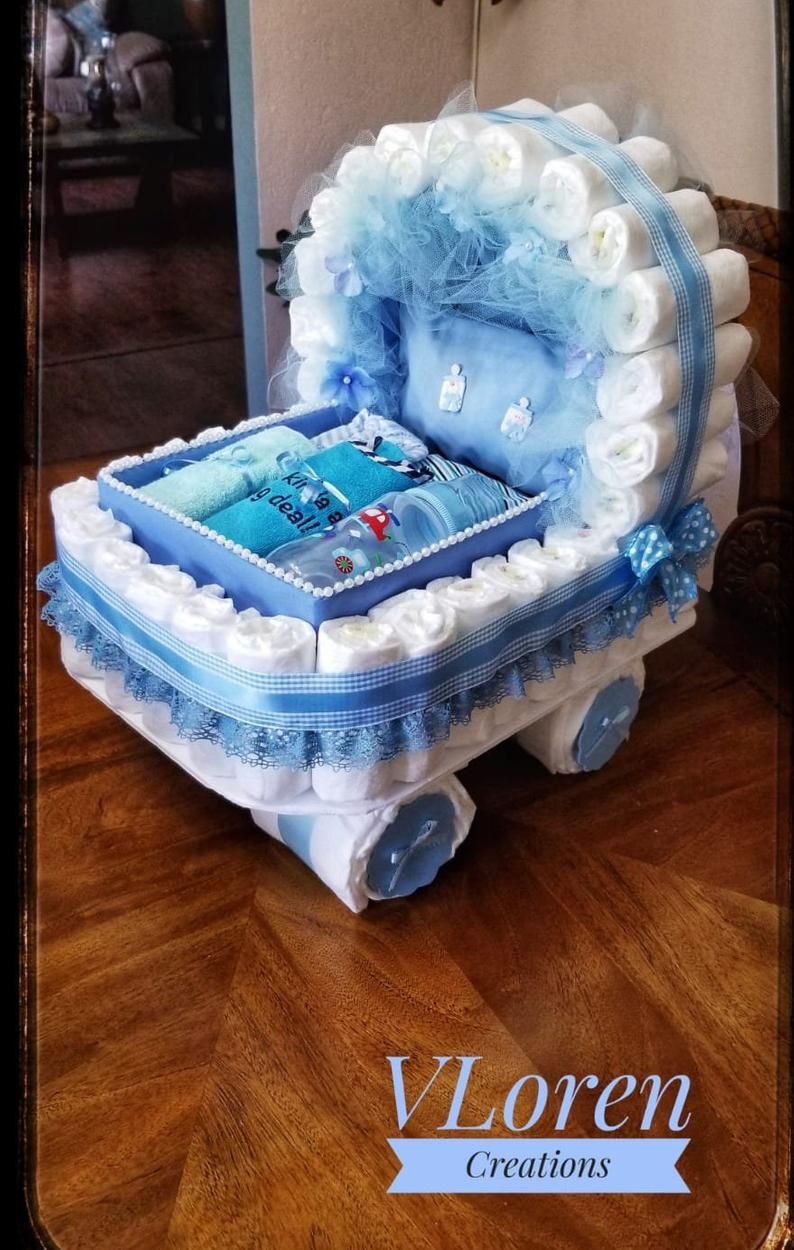 Baby Gift Diaper Cake Blue Carriage Bassinet Strol