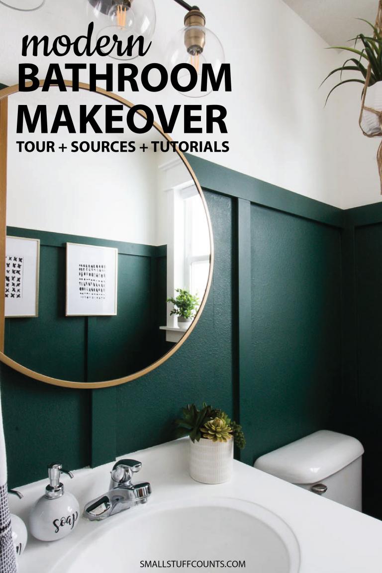 Modern Green Bathroom Makeover Bathroommakeovers Green Bathroom