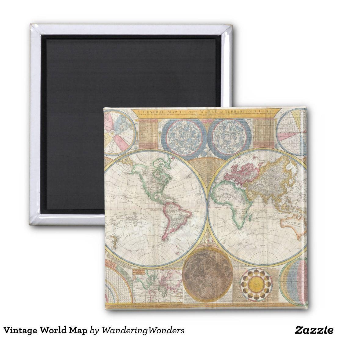 Vintage World Map Magnet | Zazzle.com #worldmapmural Vintage World Map 2 Inch Square Magnet #worldmapmural