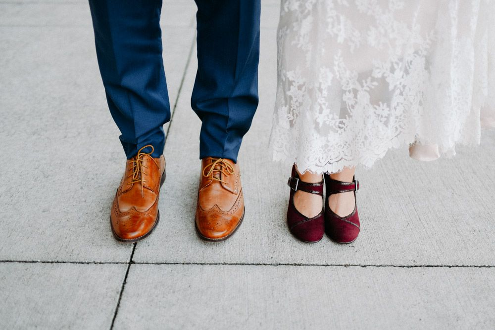shoes of bride and groom