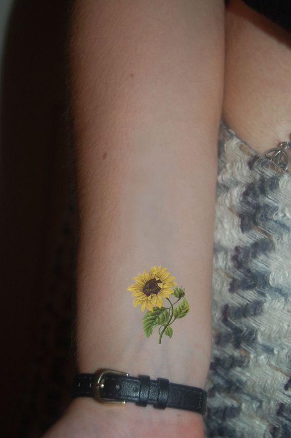 Girasol Tatuaje Temporal Tatuaje De Cosecha Por Wickedlylovelyart