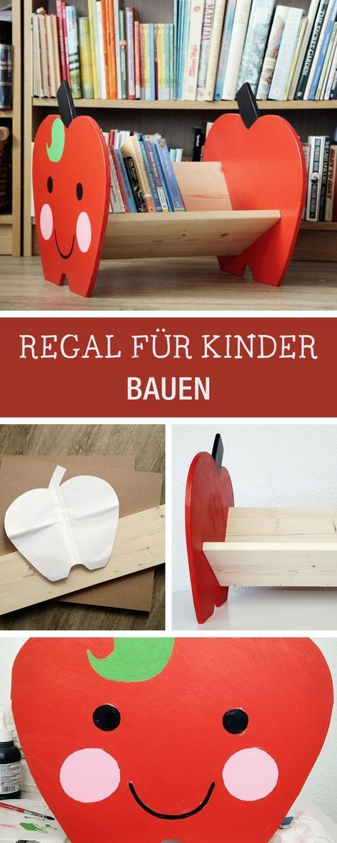 diy anleitung b cherregal in apfelform f r kinder selber bauen via diy m bel. Black Bedroom Furniture Sets. Home Design Ideas