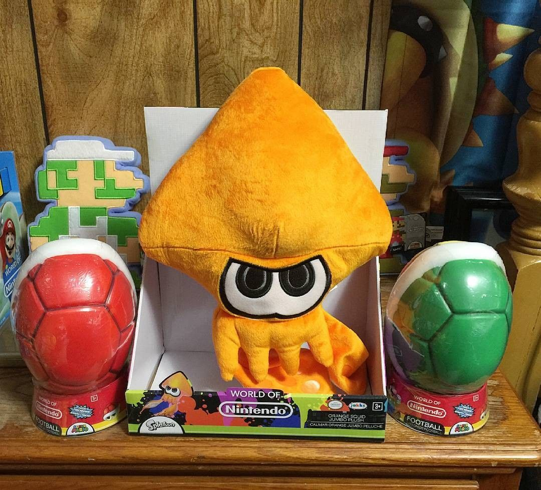 Some World Of Nintendo Items Ive Picked Up This Week Jumbo Orange Squid Plush From Splatoon And Red Green Shell Footballs Not Sure Why The