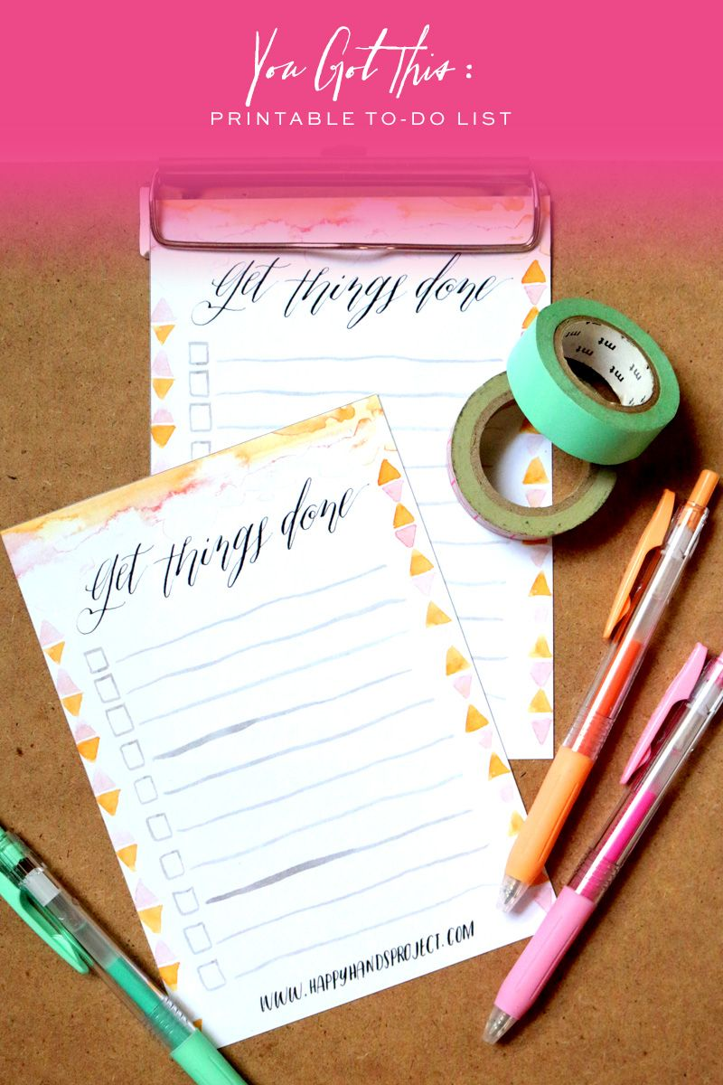 Printable To-Do List via Happy Hands Project