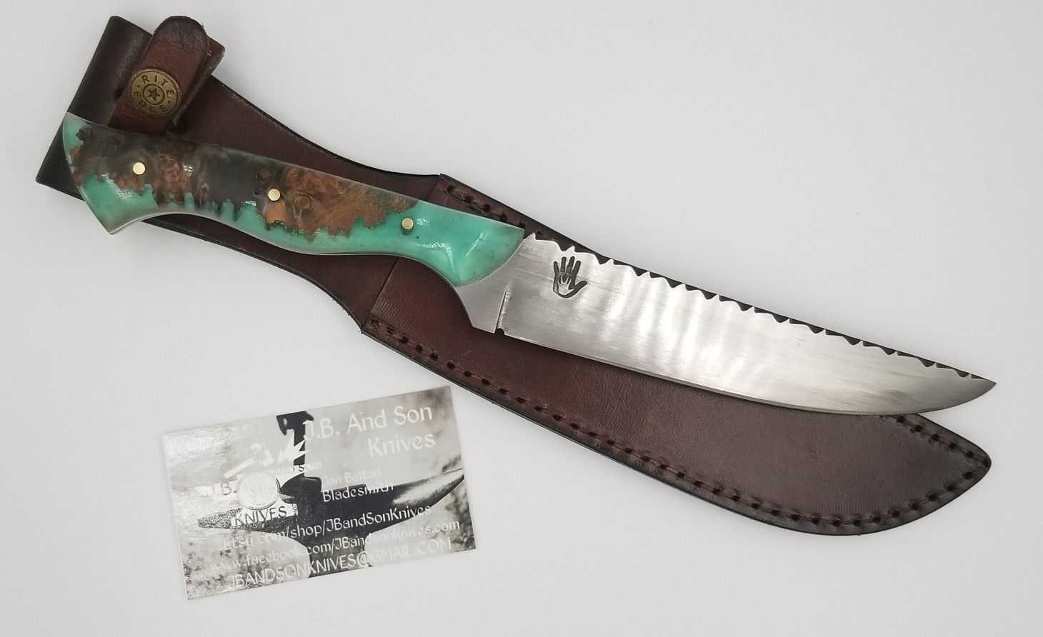 J B And Son Knives Hand Forged 1095 High Carbon Steel 11 Overall 6 X 1 1 8 Blade 5 32 Briar Filed Spine Live E Leather Sheath High Carbon Steel Knife