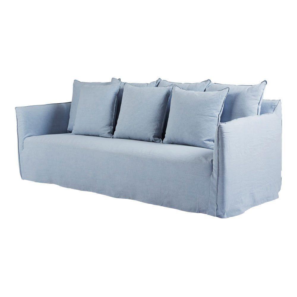 Bronte Blue Slipcover Sofa – Italian Linen   Furniture   Sofa, Light ...
