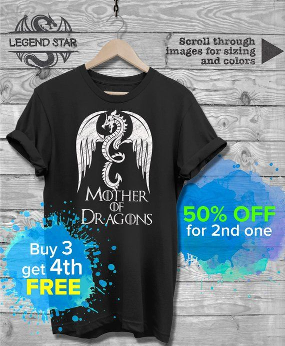 3f30957b Mother of Dragons T Shirt, Thrones of Game Khaleesi Fans Gift, Trending  Tshirts, Dragon lover Tee, M