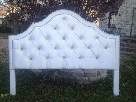 Upholstered Headboard Tufted King Queen Twin Velvet Rhinestone ...