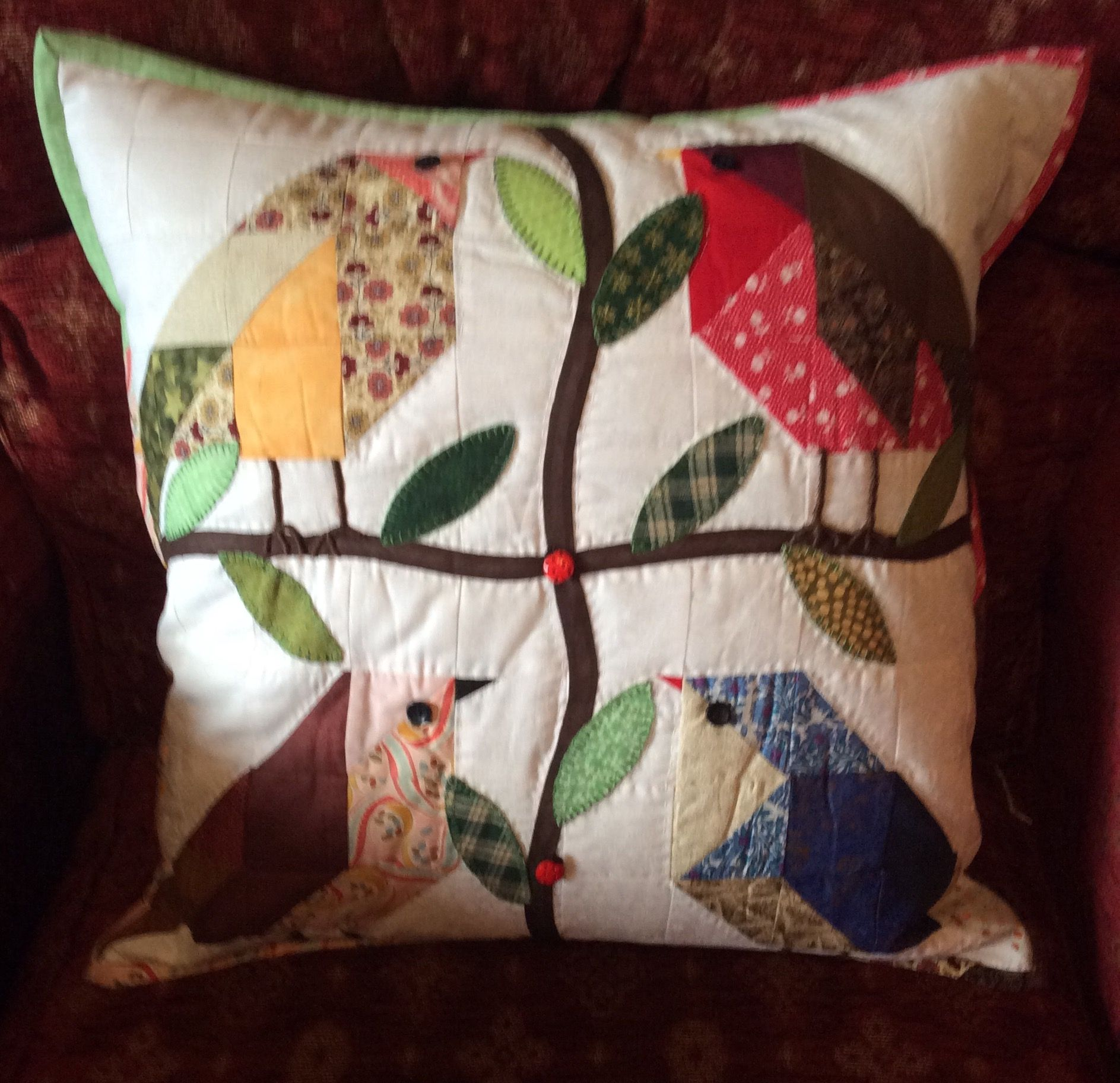 """One more bird cushion using 21/2"""" squares."""