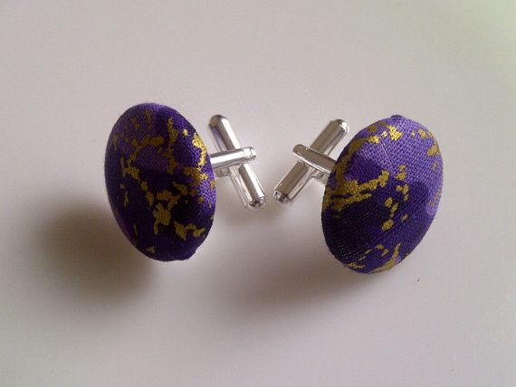 African Print Button Cufflinks Purple & Gold by JustThingsbyLx, £6.00