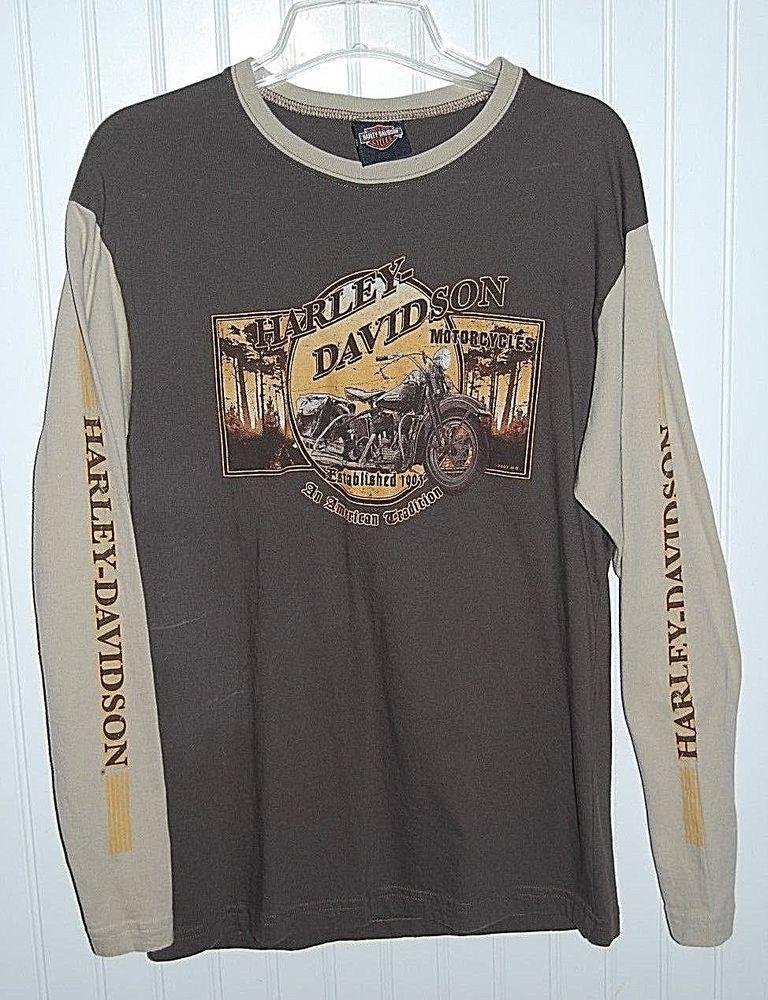 Harley Davidson Men S Large Brown Long Sleeve Graphic T Shirt Chi Town Harleydavidson Graphi Harley Davidson Shirt Harley Davidson Men Long Sleeve Tshirt Men