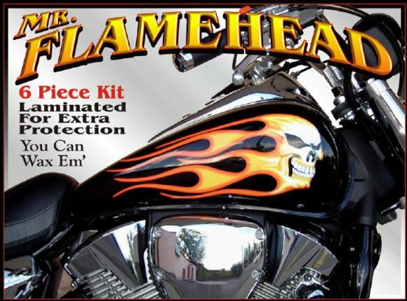 Personalize your ride with decals that have an airbrushed look easy to apply motorcycle vinyl graphics of skulls lightning pin up girls tribal flames