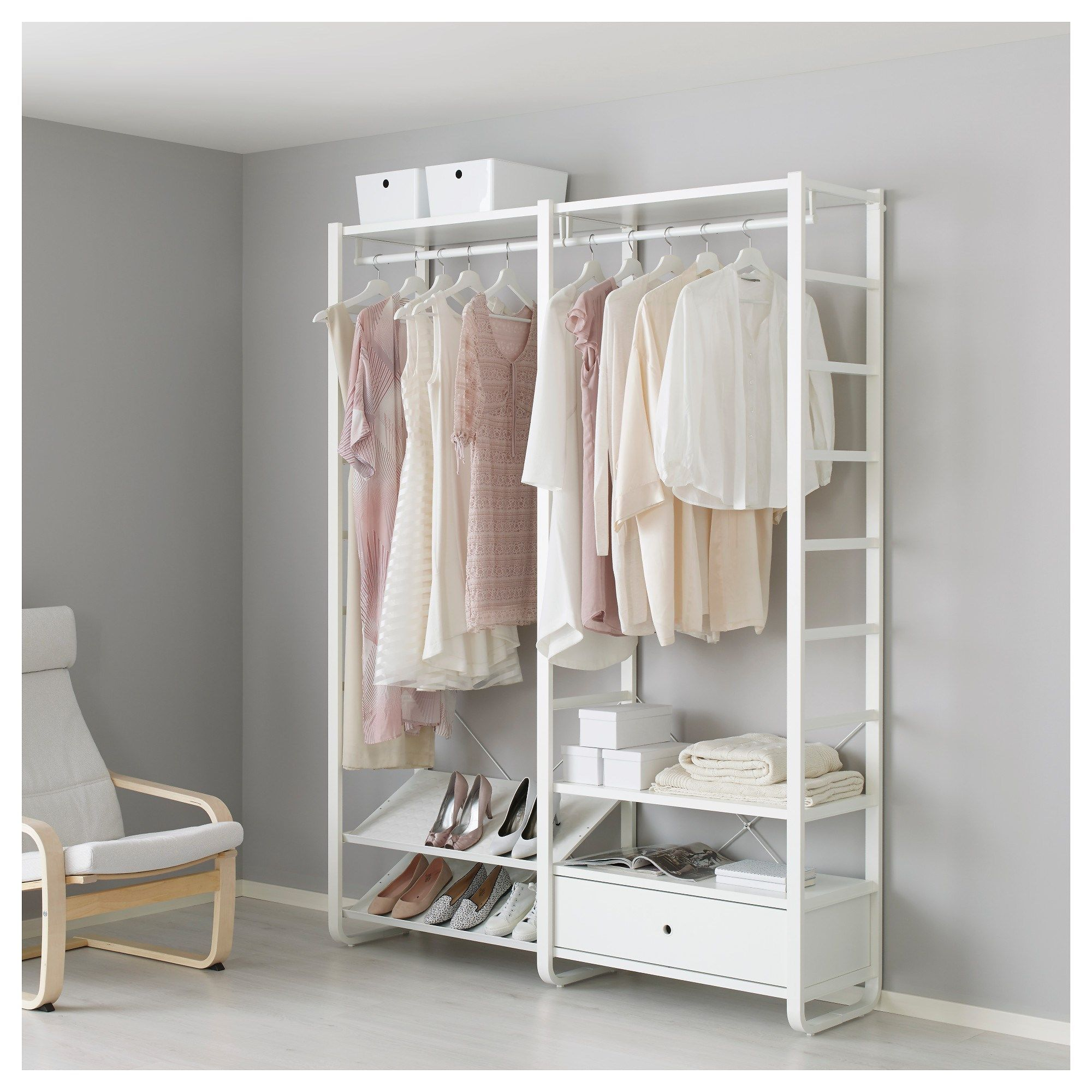 Elvarli open storage unit white 165x40x216 cm ikea for Big w bedroom storage