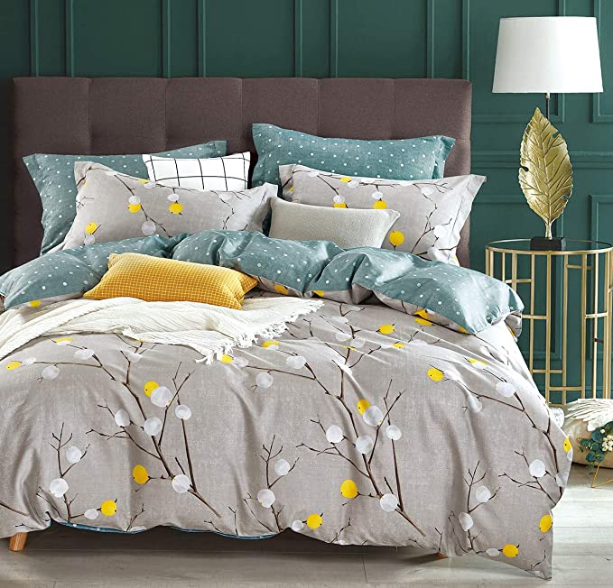 Amazon Com Sleepbella Duvet Cover King 600 Thread Count Cotton Grey Branch With Yellow Turquoise Polka Dot Full Bedding Sets Duvet Cover Sets Comforter Cover