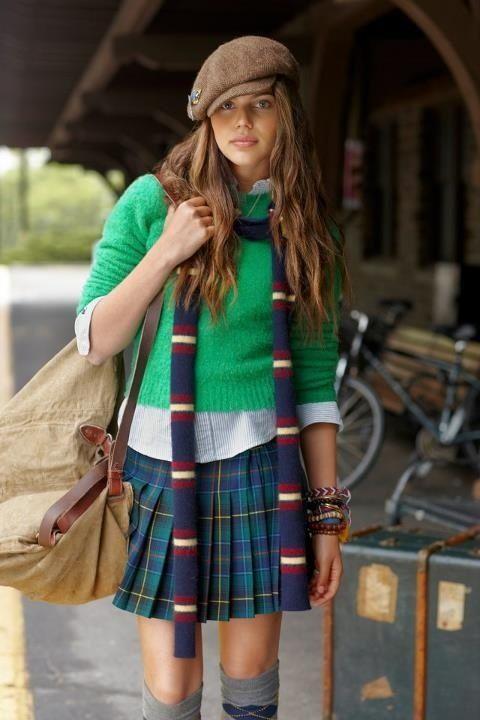 GREENtartan school girl style
