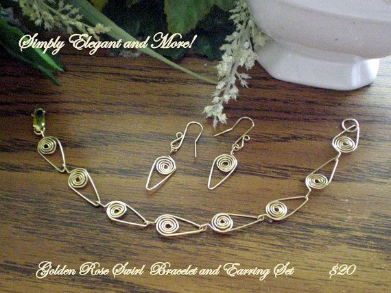Golden Rose Swirl Bracelet and Earring Set by SimplyElegantandMore, $20.00