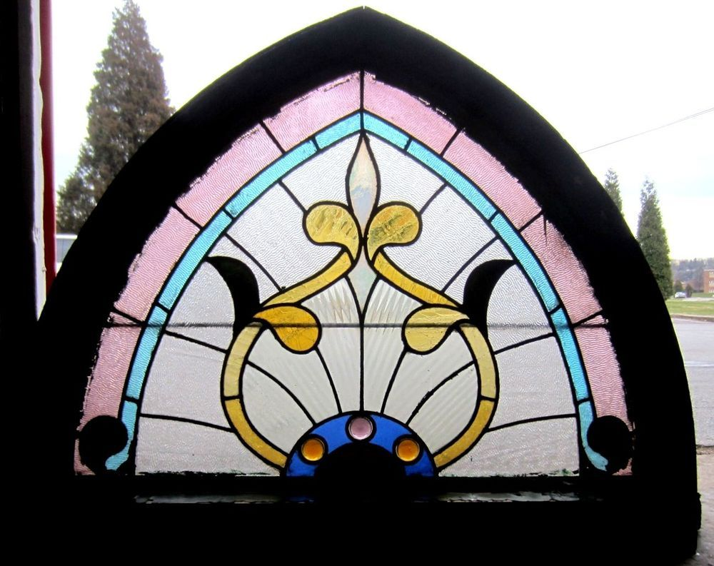 ~ ANTIQUE AMERICAN STAINED GLASS WINDOW ~ GOTHIC ~ ARCHITECTURAL SALVAGE ~  | eBay