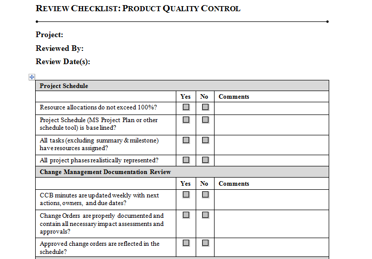 Product Quality Control Download For Project Management  Project