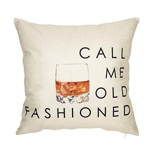 """Softxpp Call Me Old Fashioned Whisky Wine Funny Quote Saying Throw Pillow Cover Red Christmas Sign Winter Holiday Decor Cushion Case Decorative for Sofa Couch 18"""" x 18"""" Inch Cotton Linen"""