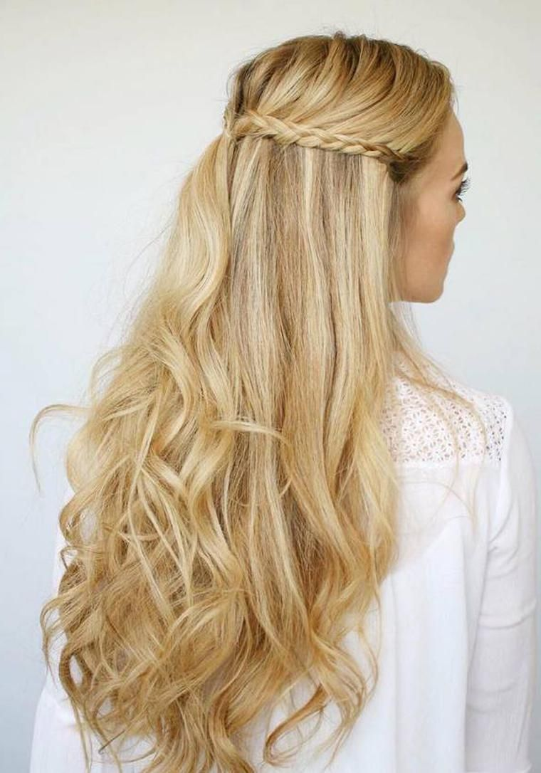 Hochzeitsfrisuren Glatte Haare Halboffen  Haare halboffen